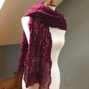 10 Foot Ruched Burgundy Winter Scarf or Shawl